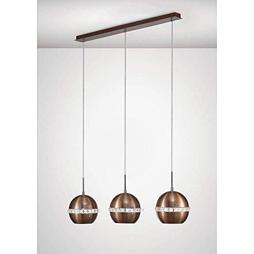 Inspired Diyas - Andrea - Lámpara colgante de techo 3 luces E27 Lineal Cobre satinado, Cristal