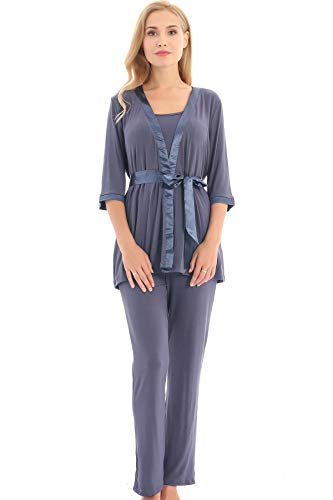 Bearsland Maternity Women's 3 Pieces Soft Nursing Pajamas Set Postpartum Sleepwear for...