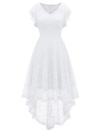 MODECRUSH Vestido de noche para mujer, manga con volantes, vestido de noche, fiesta, boda, dama de honor, vestido de cóctel Blanco XXL