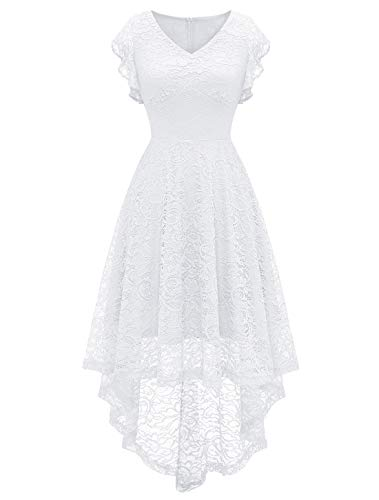 MODECRUSH Womens High Low Wedding Cocktail Party Homecoming Floral Lace Dress Ruffle Sleeve S White