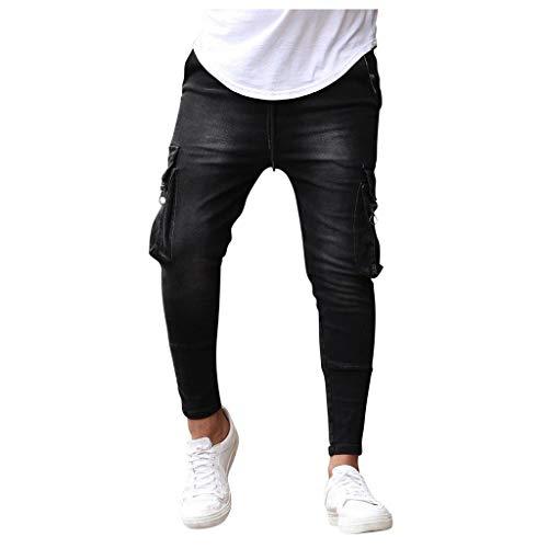 Xniral Herren Cargohose Gummibeinige Jeans mit Elastischem Reißverschluss und Mehreren Taschen Slim Fit Knöchel-Länge Hosen(Schwarz,S)