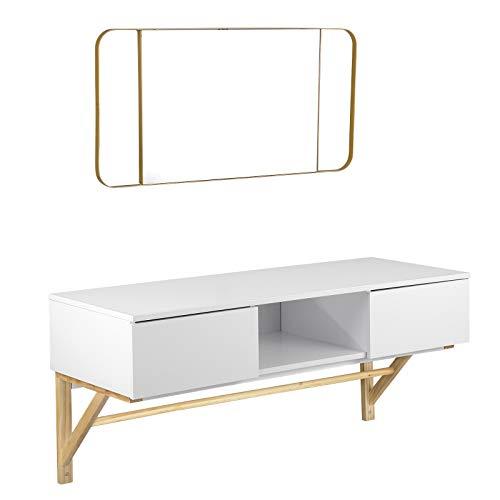 EUGAD 0021SZT Schminktisch mit Spiegel, Wandtisch mit 2 Schubladen, Modern Frisiertisch Schreibtisch 90 * 35cm, wandhängend Tisch, (Weiß+Gold)