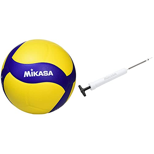 ミカサ(MIKASA) バレーボール 練習球 5号 一般・大学・高校 イエロー/ブルー 推奨内圧0.3~0.325(kgf/?) V325W ハンドポンプ ホワイト