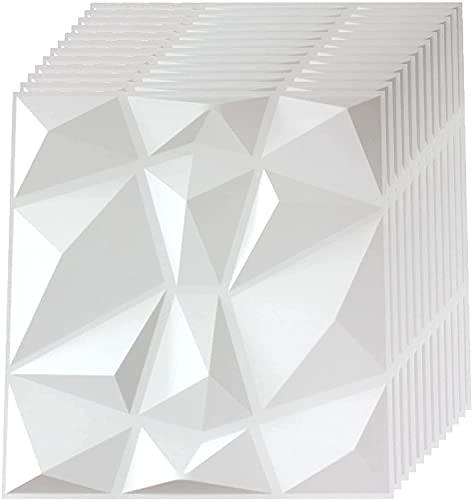 Textures 3D Wandpaneele Weiß Diamond Design Platten Paneele Pack mit 12 Fliesen (30*30cm)