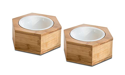 Supremery 2X Futternapf Katze mit Hexagon Halter - Futterstation 2X Keramiknapf für Katzen Hunde - Keramik Fressnapf Set Futterbar mit Holz Halterung