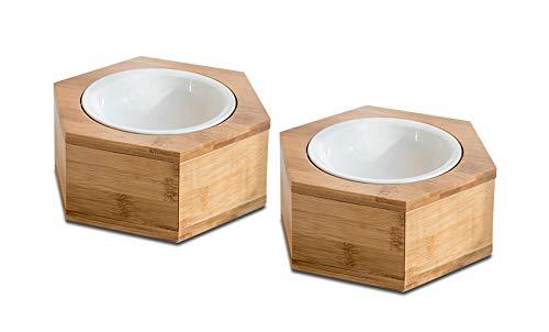 Supremery 2X voerbak kat met zeshoekhouder - voerstation 2X keramische kom voor katten honden - keramische kom Set voederbaar met houten houder