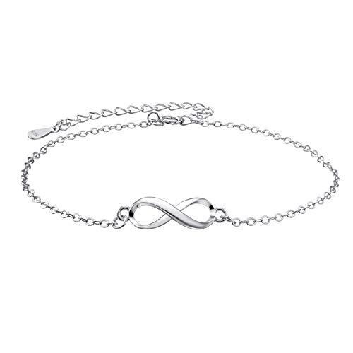 Pulsera infinity para mujer, plata de ley 925, símbolo de infinito, para mujer, plata de ley 925, circonita, pulsera de plata de ley 925