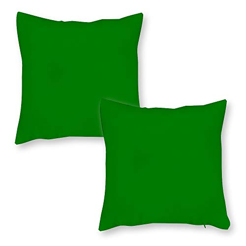 Tiukiu Set of 2, 18 X 18 Inch Velvet Soft Square Throw Pillow Cases Cushion Covers For Bed Sofa Couch Car, Grass Green Solid Color
