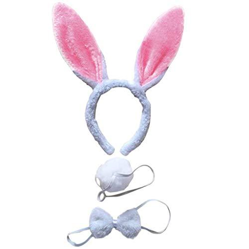 Oster Hasenohren Haarreif (Kopfband) in Flauschig - Pink für Osterferien - Stirnbänder Bunny Stirnband Schwanz Set Nette Bunny Rabbit Ear Stirnband Haarband Party Kostüm Cosplay Karneval