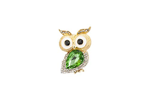Knighthood Gold and White Stone Lucky Owl with Green Semi Stone Badge Coat Suit Wedding Gift Party Shirt Collar Accessories Brooch for Men