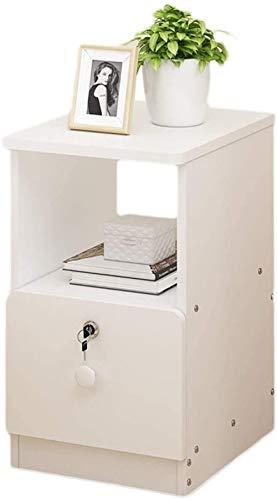 File cabinets Nachttisch, Nachttisch, Schlafzimmer, Haushalt, mit Schloss, Aufbewahrungsbox, klein, sehr schmal, Spind, Mini-Nachttisch, Flur, Beistelltisch (Farbe: Weiß, Größe: 25 x 39 x 50 cm)