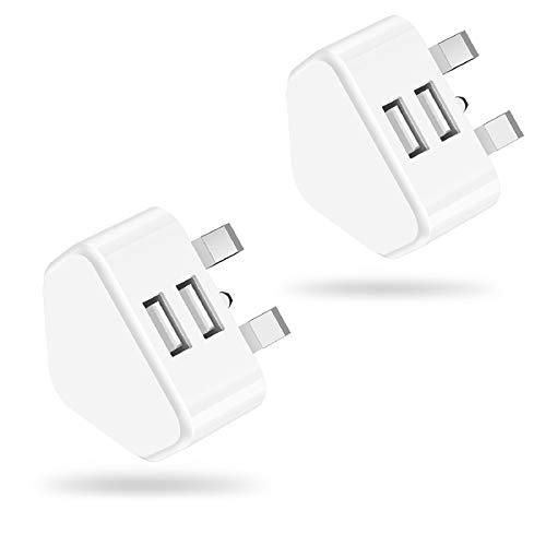 USB Charger Plug, Niluoya 2-Pack 2.1A/5V Dual Port USB Power Adapter Mains...