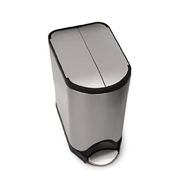 simplehuman 20 Liter/5.3 Gallon Butterfly Lid Kitchen Step Trash Can, Brushed Stainless Steel