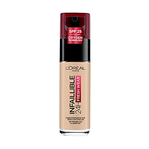 L'Oréal Paris Make up, Wasserfest und langanhaltend, Flüssige Foundation mit LSF 25, Infaillible 24H Fresh Wear Make-up, Nr. 130 True Beige, 30 ml