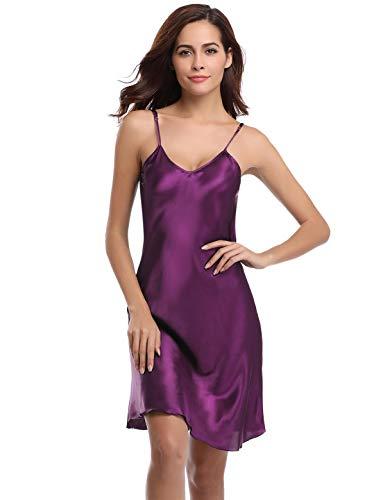 Abollria Camisón Mujer Verano Lencería Pijama de Satén Kimono Camisón para Mujer Morado Profundo,M