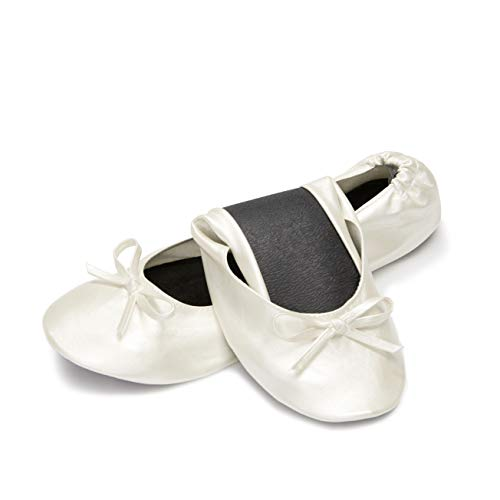 Cinderollies Foldable Ballet Flats - Womens Rollable Travel Flat Comfort Shoes with Pouch (X-Large, Pearl)