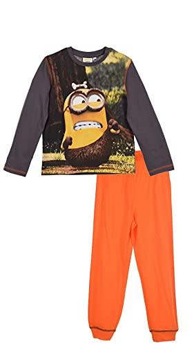 Les Minions - Pijama largo para niño, color gris y naranja de 3 a 8 años gris 4 años