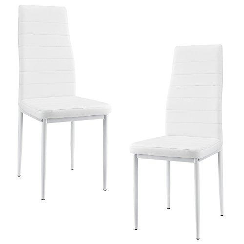 [en.casa] 2 x sillas de Comedor (Blancas) 96cm x 43cm x 52cm tapizadas de Cuero sintético Comedor/salón/Cocina - Set