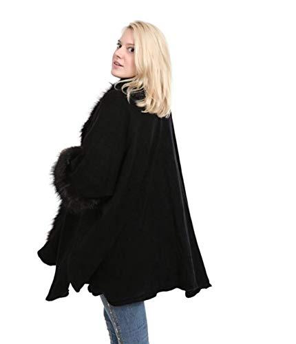 Emilie Scarves Poncho omslagdoek cape vest met mouwen- zwart - nep bont