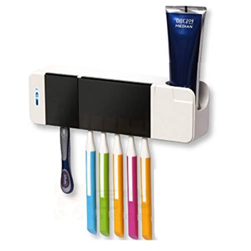 Tandenborstel Sterilizer Tandenborstel Houder Verwijderbare Wasbare Elektrische Drogen Badkamer Tandpasta Zuignap Wandrek Wit