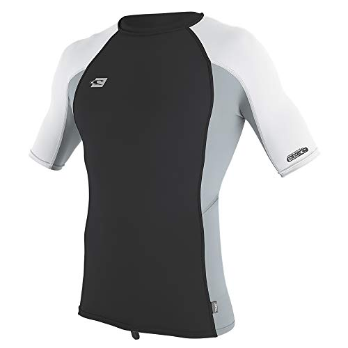 O'Neill Wetsuits Men's Premium Skins UPF 50+ Short Sleeve Rash Guard, Midnight Oil/Cool Grey/White, XX-Large