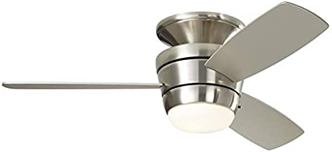 Harbor Breeze Mazon 44-in Brushed Nickel Flush Mount Indoor Ceiling Fan with Light Kit and Remote (3-Blade) (Renewed)
