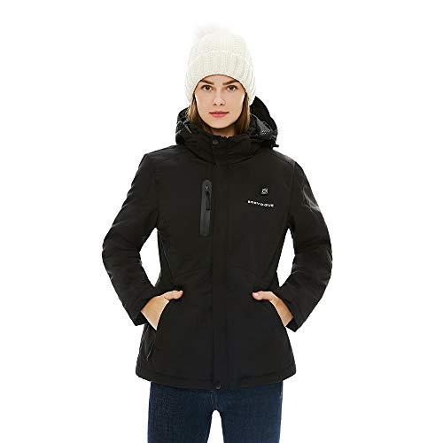 [2019 Upgrade] Women's Heated Jacket with Battery Pack, Heated Coat with Detachable Hood and Waterproof& Windproof