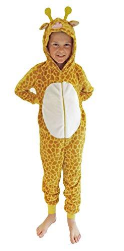 Kinder Karnevalskostüm Unisex Jumpsuit Overall Onesie Schlafanzug in tollen Tier Motiven, Größe:152, Farbe:Giraffe
