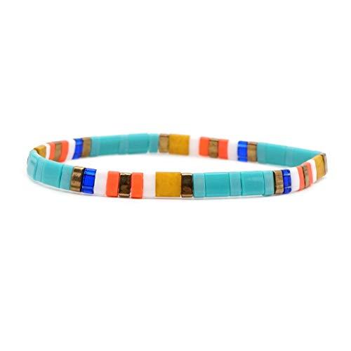 BLEUNUIT Pulsera apilable esmaltada, Colorida Pulsera Boho para Mujer, Pulseras elásticas apilables esmaltadas, joyería de Playa-C