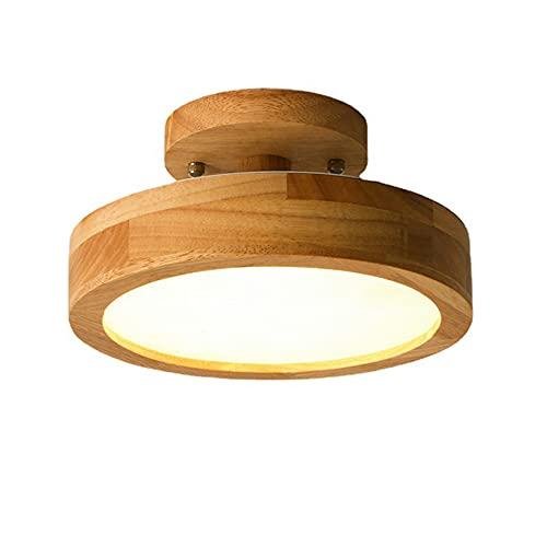 Lámpara de techo redonda de madera regulable luz de techo moderna rústica lámpara LED de tres colores lámpara de techo pequeña para balcón entrada vestíbulo cocina candelabro de 20 cm de diámetro