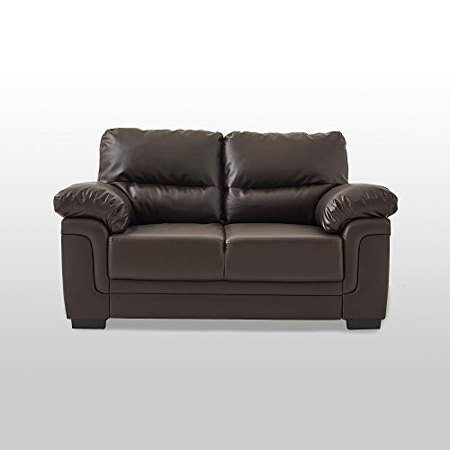 Panana Faux Leather 2 Seater Sofa Modern Jumbpo Cord Corner Sleeper Lounge Couch for Living Room Furniture (2 Seater Brown)