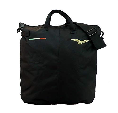 The Aerodyne Borsa portacasco Nera da Volo Ricamata con Aquila Pilota Civile con Portachiavi Follow Me