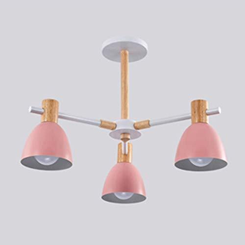 KK Timo Nórdico Minimalista Colorido Dormitorio Habitación Vestíbulo del Hotel Restaurante Sala De Conferencias Lámpara De Araña De Madera Maciza Pantalla De Lámpara (60 * 60 * 30 Cm) (Color : Pink)