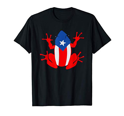 Patriotic Puerto Rico Flag Frog Puero Rican Culture Roots T-Shirt
