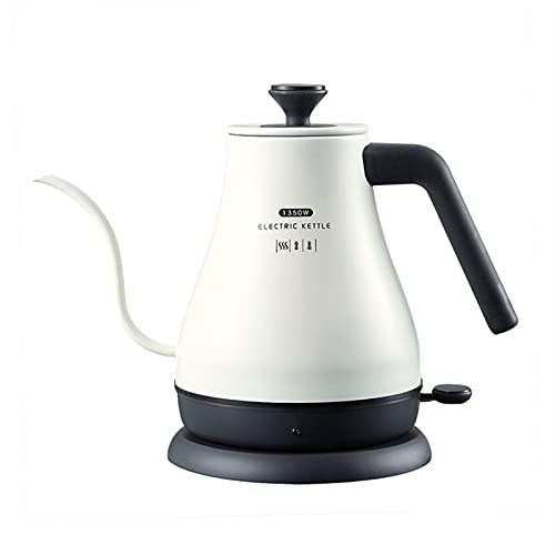 GYQYYGZ Hervidor eléctrico 1.2l Cuello de Cisne del tetal eléctrico té café Termo Olla electrodomésticos Cocina Inteligente rápido calefacción hervir Tetera (Color : White)