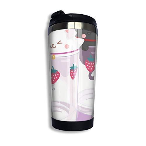 Hdadwy Nana Hachi-Vasos de fresa Taza de viaje de café Taza Vaso aislado al vacío de acero inoxidable 13.5 oz