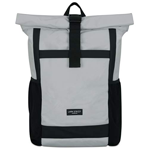 LARK STREET Rucksack Damen & Herren - No 2 - Rolltop Grau – Recycelt & Wasserabweisend mit Laptopfach