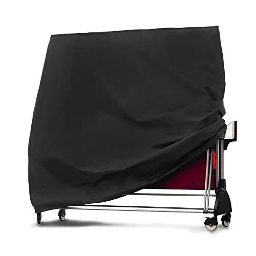 ONEVER Housse de Table de Ping-Pong, Imperméable   Coupe-Vent   Anti-UV, Housse de Table de Ping-Pong Pliante Noire Protecteur de Table de Ping-Pong Réglable 165X70x185cm