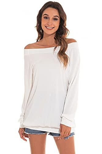 Yuson Girl Casual CamisetasMangaLargaMujer CamisaMujer Fuera del Hombro RopadeMujer Sexy Suelto Mujer Ocasionales Flojas Atractiva Elegante Moda (Blanco,XL)