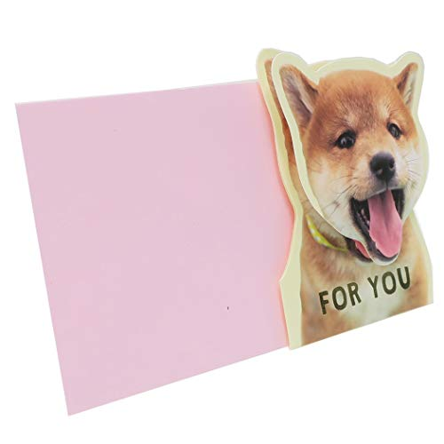 Bobble Shiba Inu Face FOR YOU Card with a Pink Envelope Die-Cut & Shaking Adorable Shiba Dog Puppy Face Made in Japan (1)