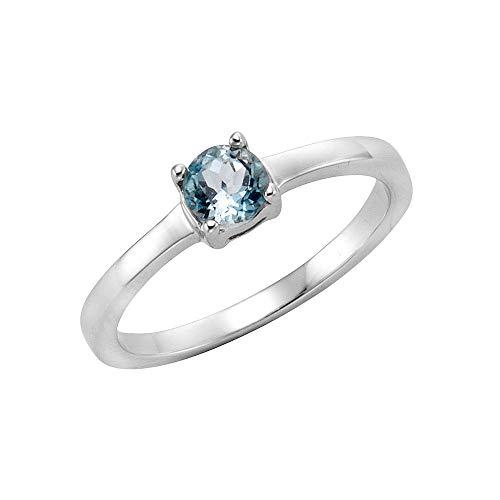Zeeme Gemstones Damen Ring 925/- Sterling Silber Glänzend Blautopas beh. weiß 273271053