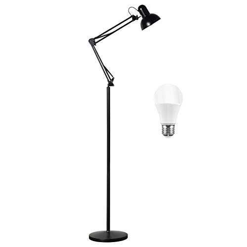 BBE Floor Lamp Standing Lamp, Adjustable Architect Swing Arm Standing Reading Lamp with Metal Base, Modern Design Studying Light with On/Off Switch for Living Room Bedroom Piano Room (Black)