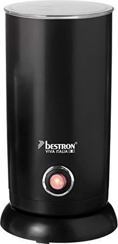 Bestron Elektrischer Milchaufschäumer, Viva Italia, Kabellos, 550 Watt, 300 ml, Schwarz