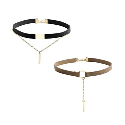 MILAKOO 2 Stück Velvet Choker Halskette Goldbarren Anhänger Kette Choker Double Layer Choker für Frauen Mädchen, schwarz und braun