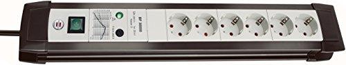 Brennenstuhl Premium-Line Steckdosenleiste 6-fach mit Überspannungsschutz bis zu 30.000 A (Steckerleiste mit 3m Kabel und Schalter, Made in Germany) schwarz/grau
