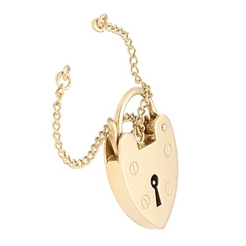 Candado de corazón de oro amarillo de 9 quilates para mujer y cadena de seguridad (16 x 25 mm)   Jollys Jewellers
