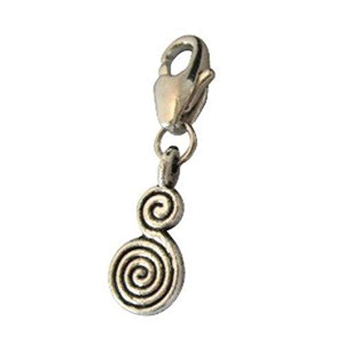 Colgante de plata tibetana con doble espiral para añadir una joya o para un collar de mascota