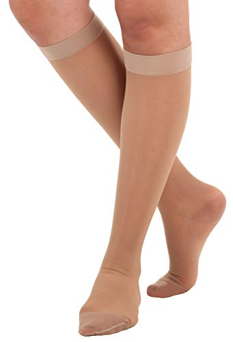 Absolute Support - Made in USA - Size Medium - Sheer Compression Socks for Women Circulation 15-20 mmHg - Lightweight Long Compression Knee High Support Stockings for Ladies - Natural