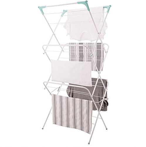 Tendedero para ropa de 3 niveles, para secar en interiores y exteriores, con patas antideslizantes y espacios de esquina para perchas, plano plegable para ahorrar espacio, 63 x 46 x 138 cm (blanco)