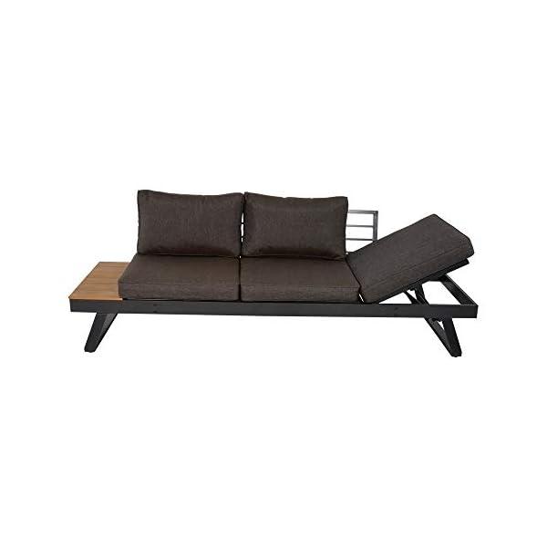 lifestyle4living Gartenbank 2 Sitzer aus Aluminium in anthrazit inkl. Kissen in grau. Die klappbare Bank ist wetterfest…
